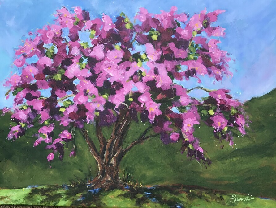 Creating impact by painting sunshine flowers springbank park springbank park cherry blossom tree mightylinksfo